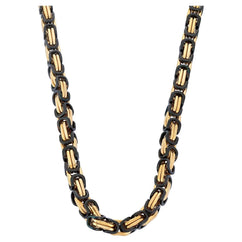 Chains - 6mm Gold & Black Byzantine Chain