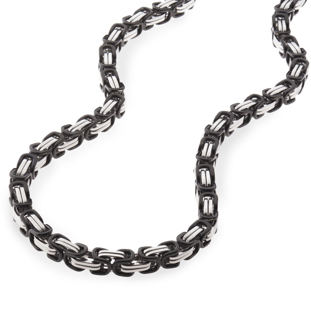 Chains - 6mm Men's Black & Silver Stainless Steel Byzantine Chain