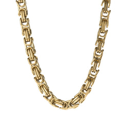 6mm Men's Gold Stainless Steel Byzantine Box Chain , Chains, SpicyIce - 1