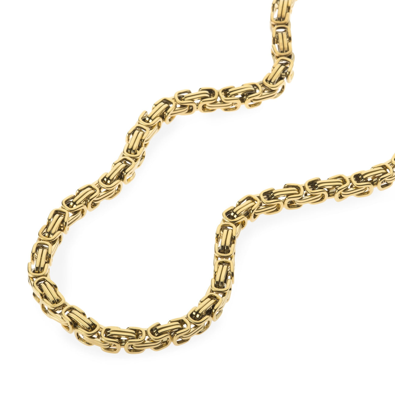 6mm Men's Gold Stainless Steel Byzantine Box Chain , Chains, SpicyIce - 2