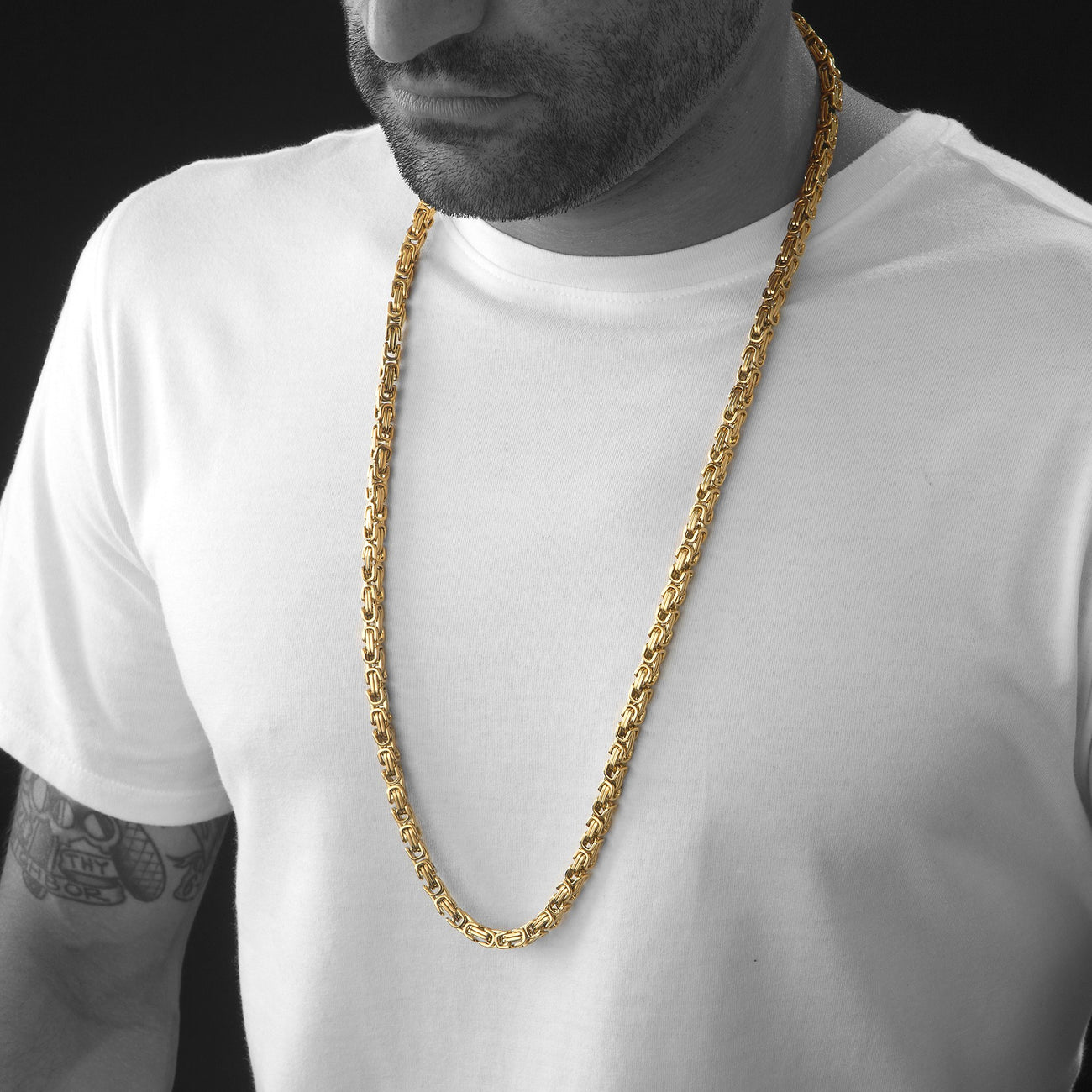 6mm Men's Gold Stainless Steel Byzantine Box Chain , Chains, SpicyIce - 3