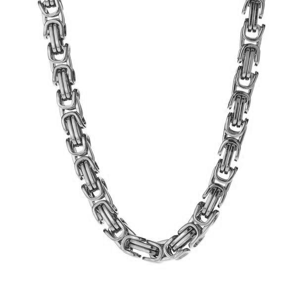 Chains - 6mm Men's Stainless Steel Byzantine Box Chain