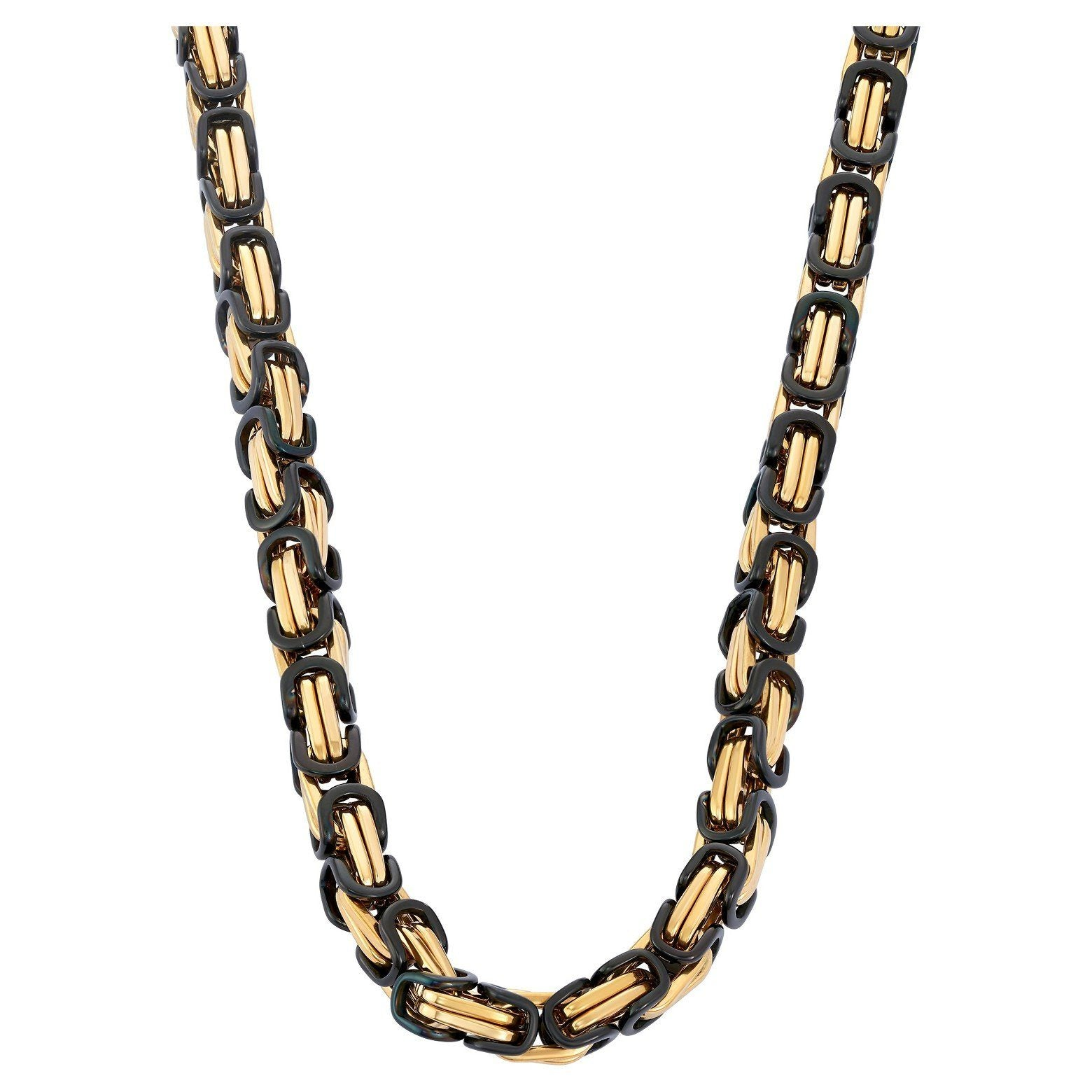 Chains - 8mm Gold & Black Byzantine Chain
