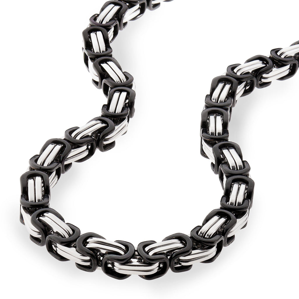 Chains - 8mm Large Black & Silver Byzantine Chain