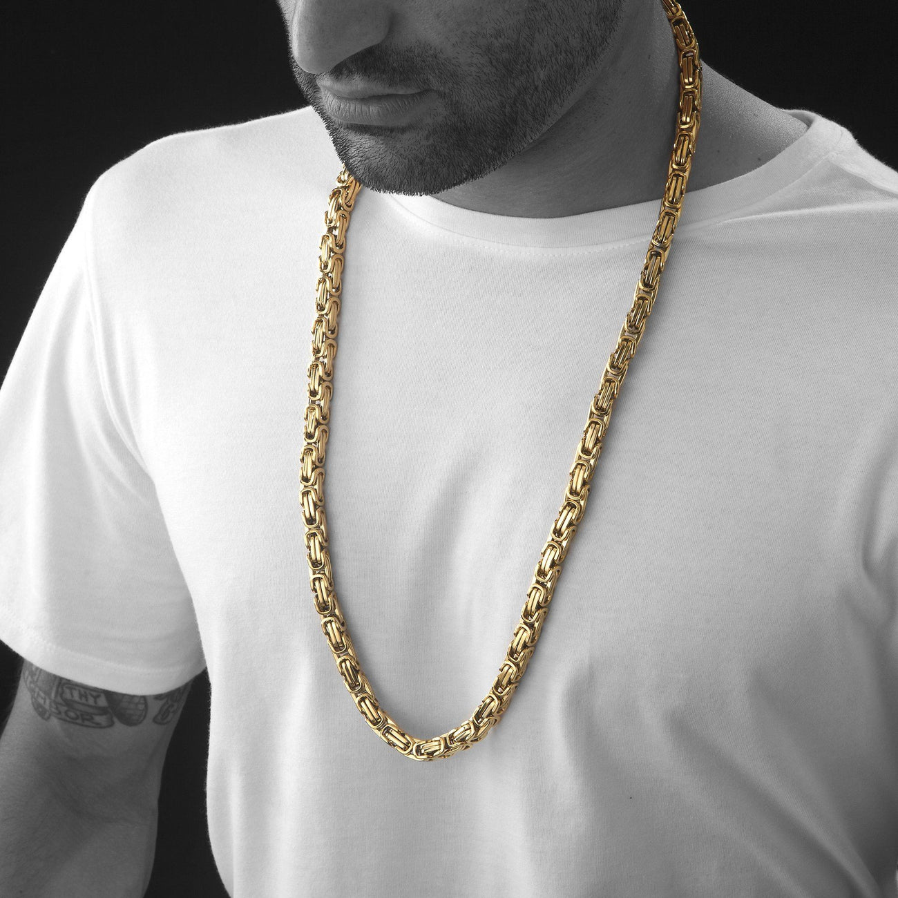 Chains - 8mm Large Gold Stainless Steel Byzantine Chain