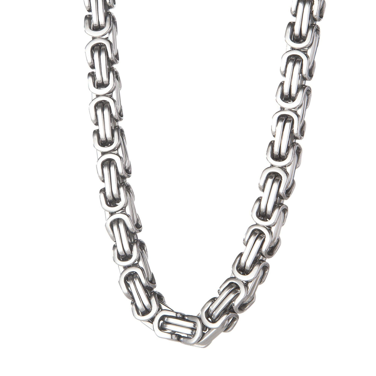 Chains - 8mm Large Stainless Steel Byzantine Box Chain