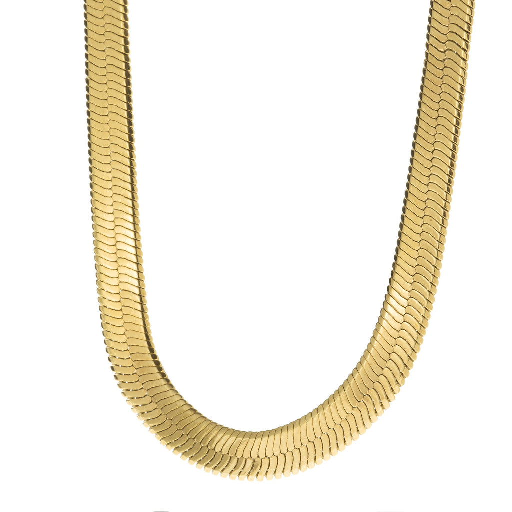 Men's 10MM Gold Herringbone Chain Necklace , Chains, SpicyIce - 2