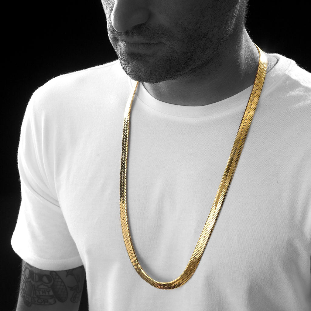 Men's 10MM Gold Herringbone Chain Necklace , Chains, SpicyIce - 1