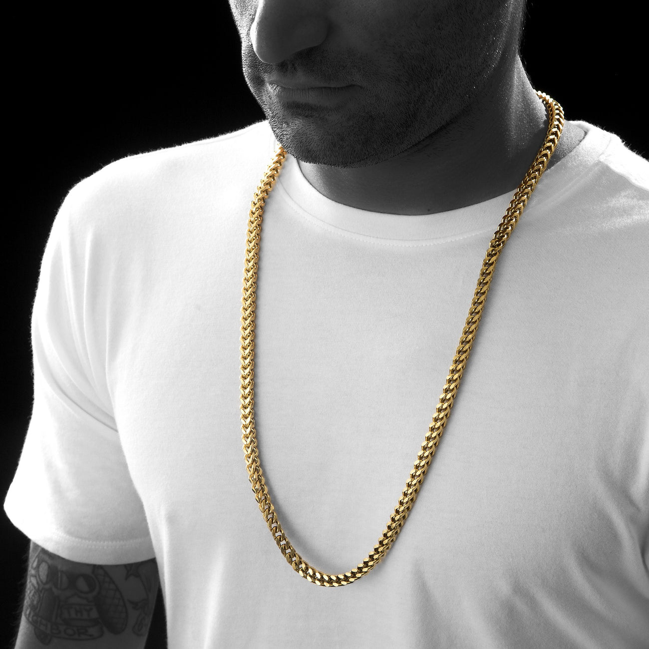 Gold Stainless Steel Franco Cuban Box Chain Necklace