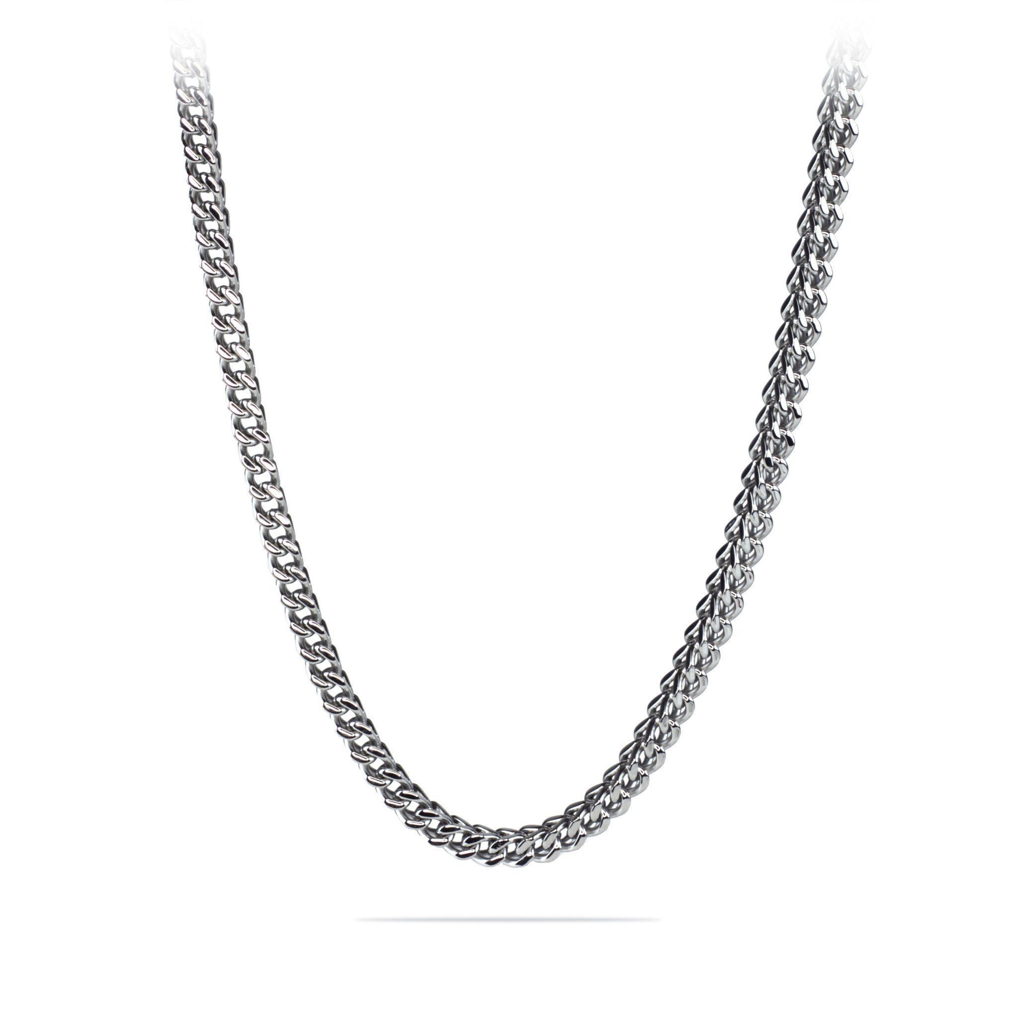 Stainless Steel Silver Franco Cuban Box Chain Necklace