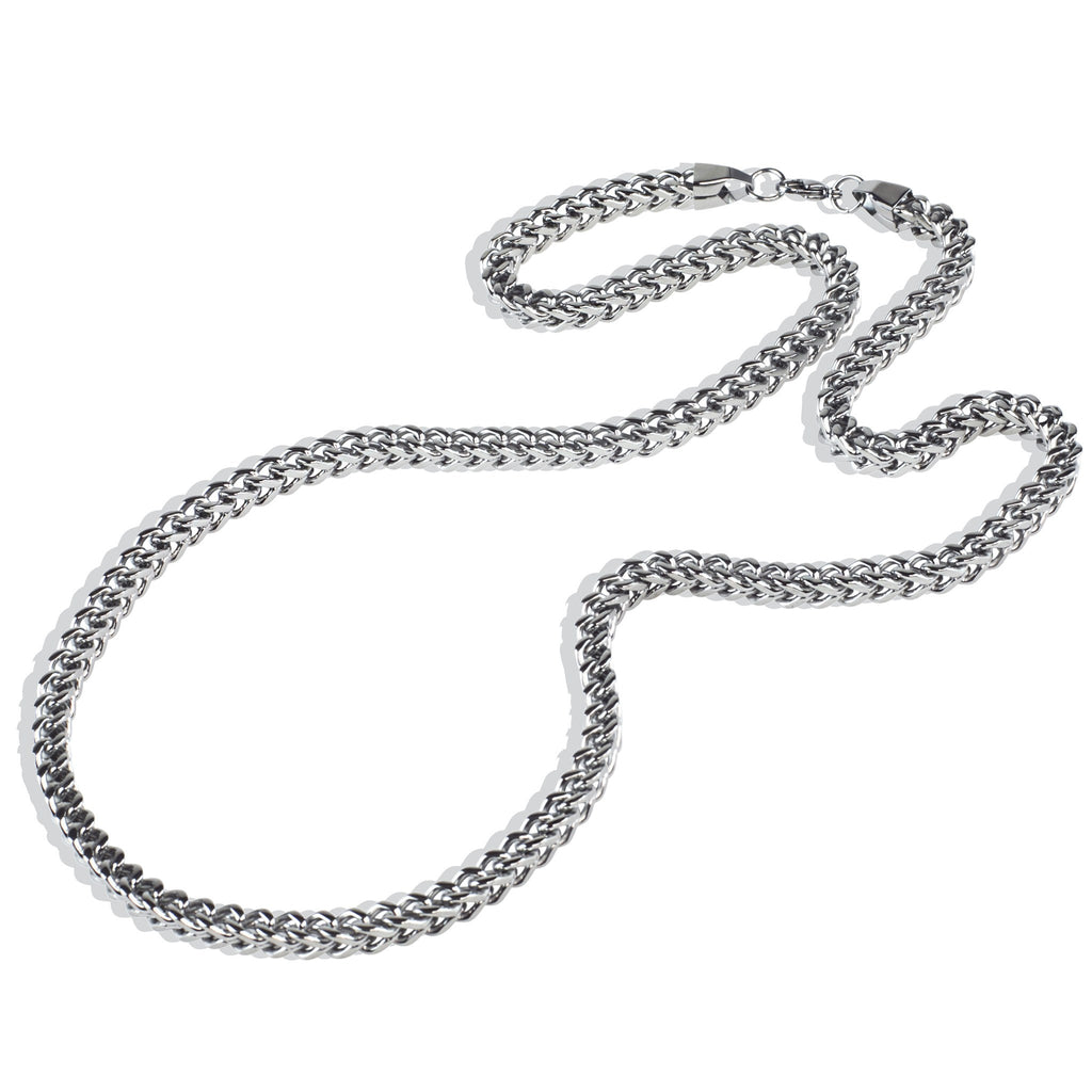 Mens 6mm Silver Stainless Steel Franco Cuban Box Chain Link Necklace , Chains, SpicyIce - 2