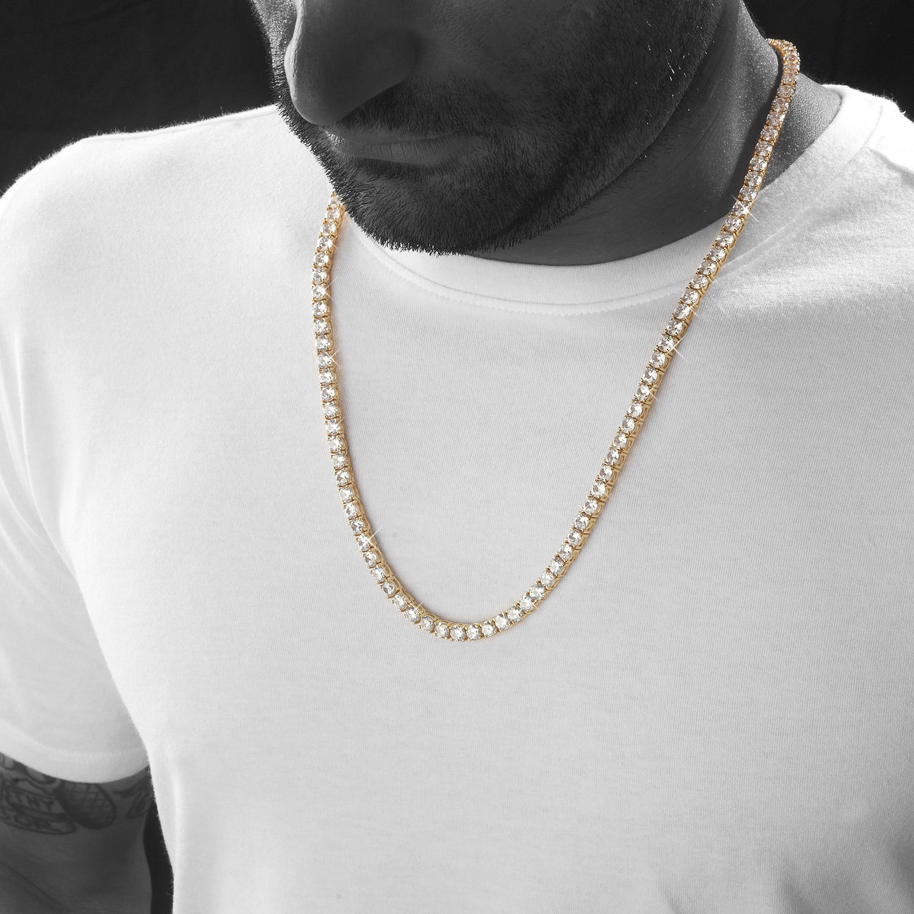 Chains - Sterling Silver 5mm Tennis Chain In Gold