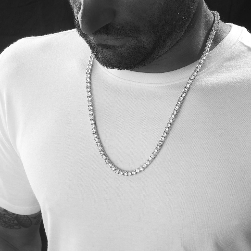 Chains - Sterling Silver 5mm Tennis Chain In Rhodium
