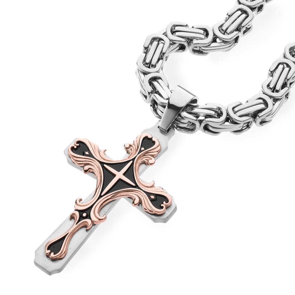 Necklace - Rose Gold & Silver Tribal Cross Pendant