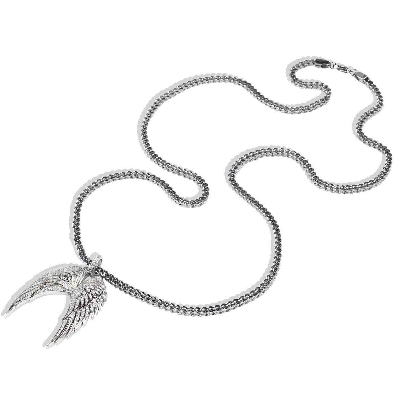 925 Sterling Silver Iced Out Hip Hop Bling Angel Wings Pendant Necklace , Necklace, SpicyIce - 2