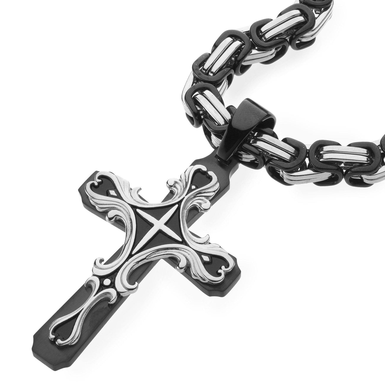Necklace - Black Silver Tribal Cross Pendant