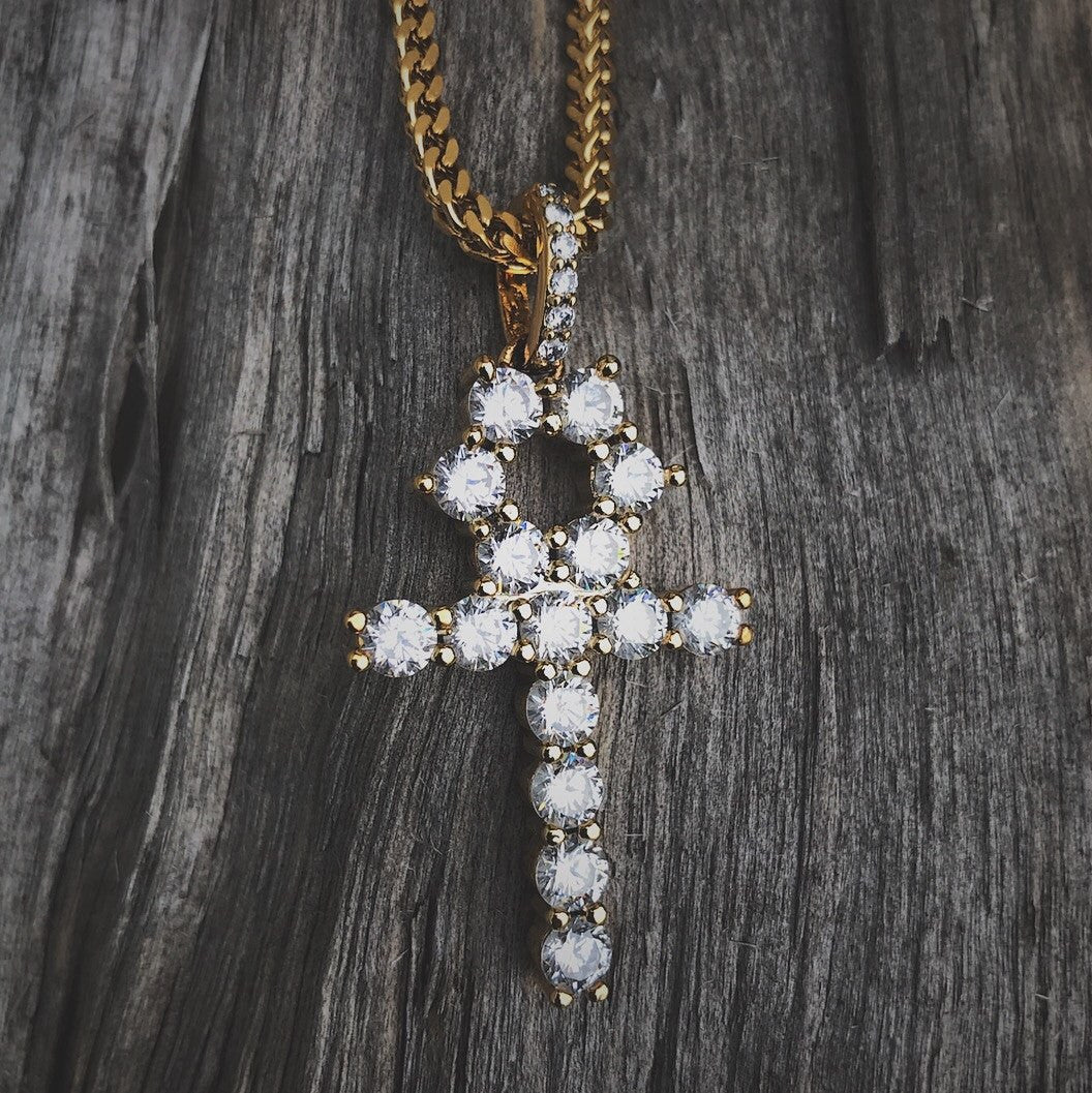 Necklace - Diamond Ankh Cross In 18k Gold