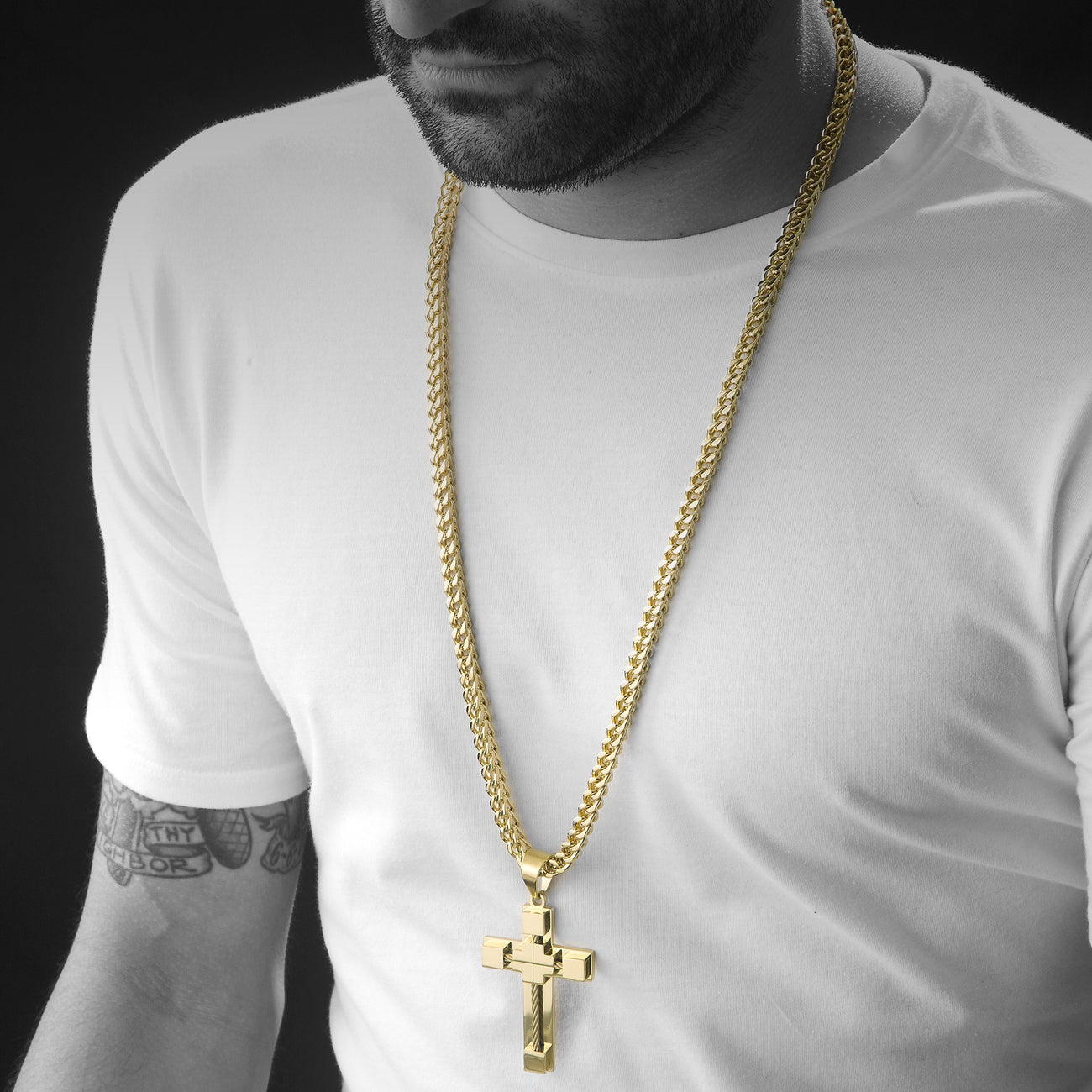 Gold Cable Cross Pendant With Franco Chain , Necklace, SpicyIce - 3