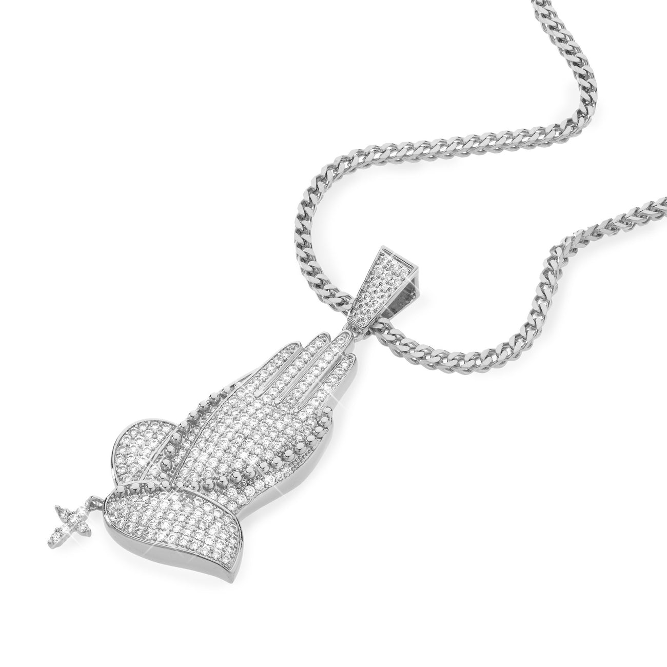 Necklace - Iced Praying Hands In Rhodium