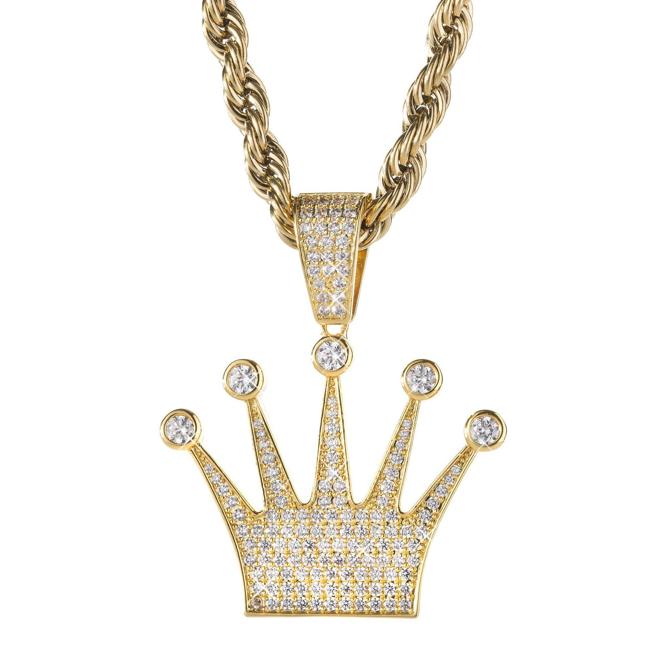 charm gold white rolex crown diamond yellow ye pendant necklace or