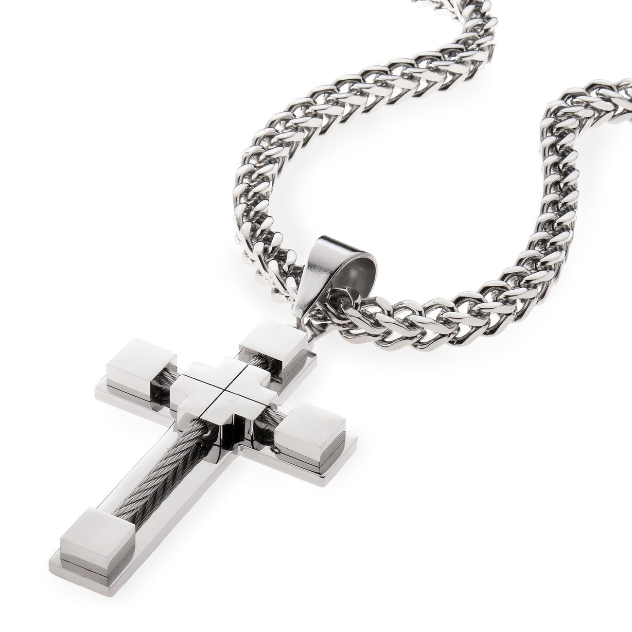 MEN's Stainless Steel 6mm Silver Cable Cross Pendant With Franco Chain , Necklace, SpicyIce - 1
