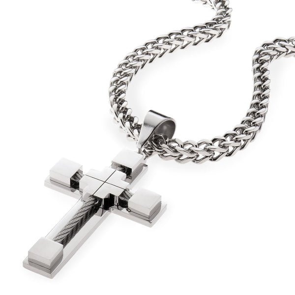 Stainless Steel Silver Cable Cross Pendant Spicyice