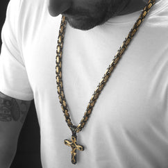 Mens HEAVY Stainless Steel Black & Gold Cross Necklace , Necklace, SpicyIce - 1