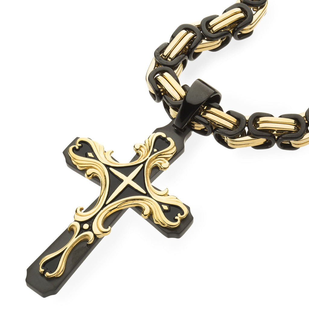 Mens HEAVY Stainless Steel Black & Gold Cross Necklace , Necklace, SpicyIce - 3