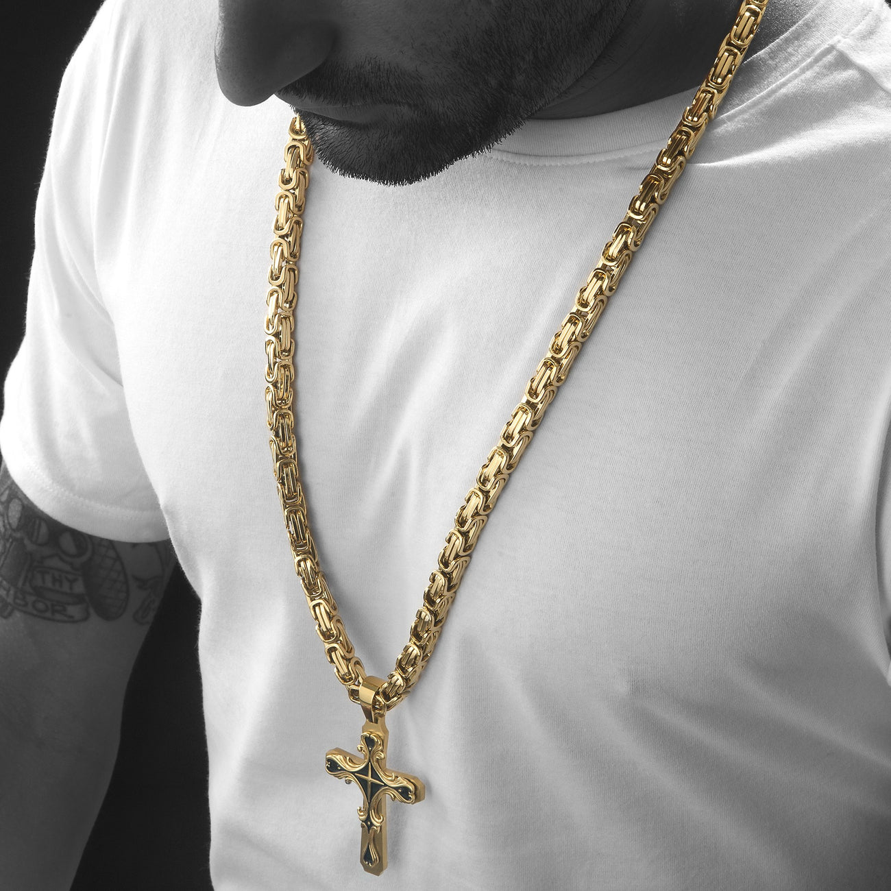 Mens HEAVY Stainless Steel Gold Cross Necklace , Necklace, SpicyIce - 1