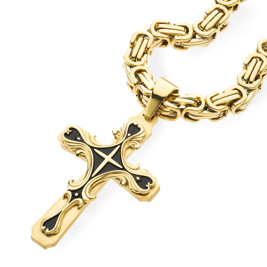 Mens HEAVY Stainless Steel Gold Cross Necklace , Necklace, SpicyIce - 2