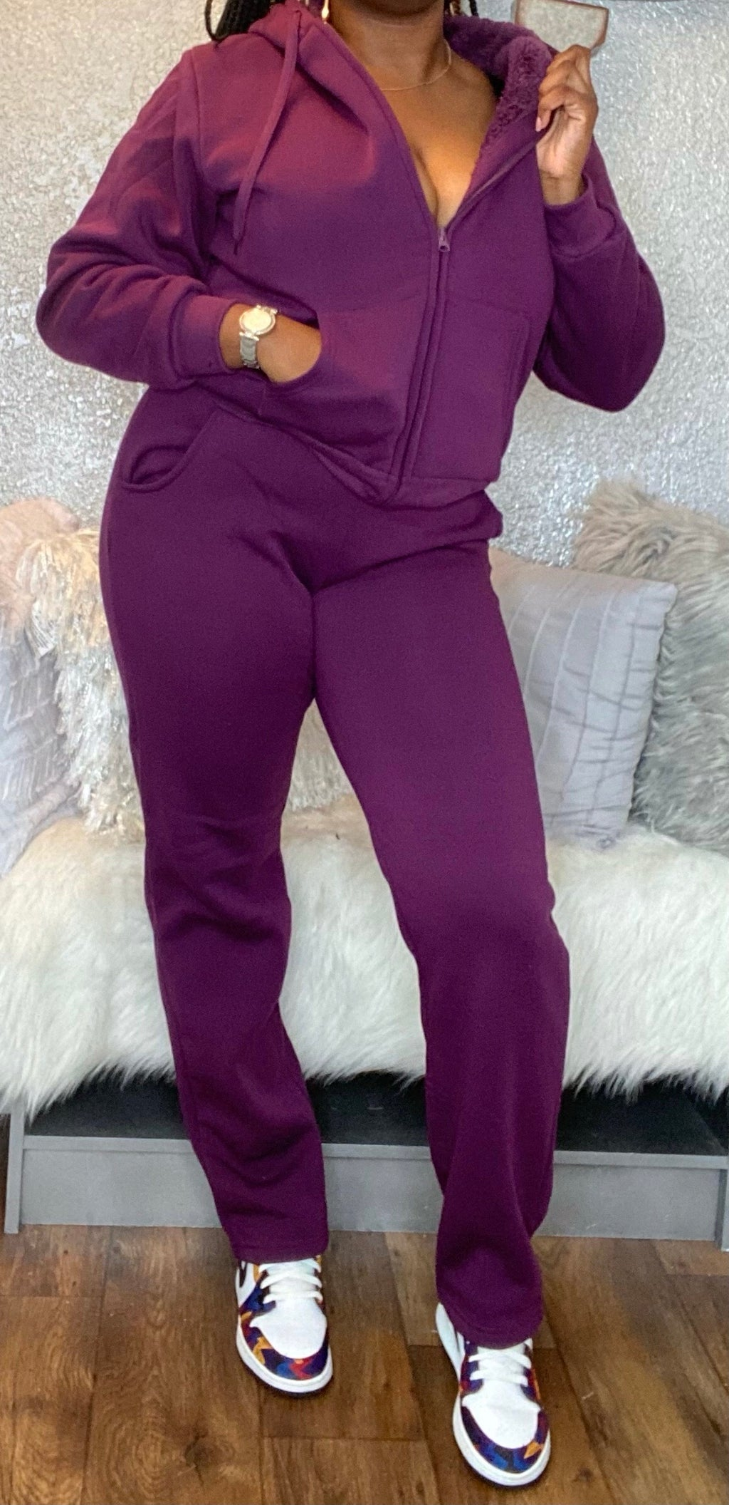 Purple Matching Jogging Set