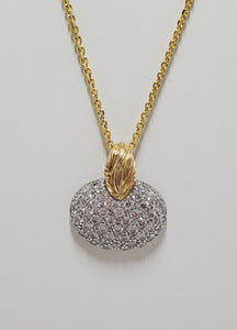 Sterling Silver Necklace With Gold Plating and Crystal Pendant Adjustable