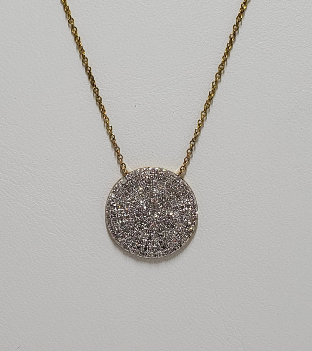 10k Yellow Gold Pave Diamond Necklace