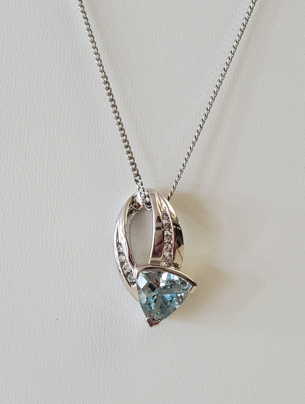 14k White Gold Trillion Cut Aquamarine and Diamond Necklace with Pendant