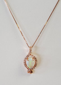 14k Rose Gold and Opal and Diamond Necklace