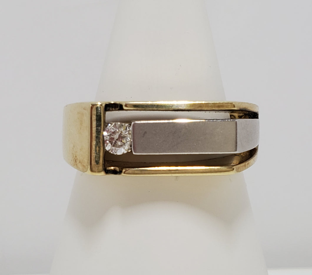 10k White and Yellow Gold Canadian Diamond Ring