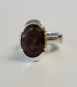 Sterling Silver and 10K Yellow Smoky Topaz Gold Ring
