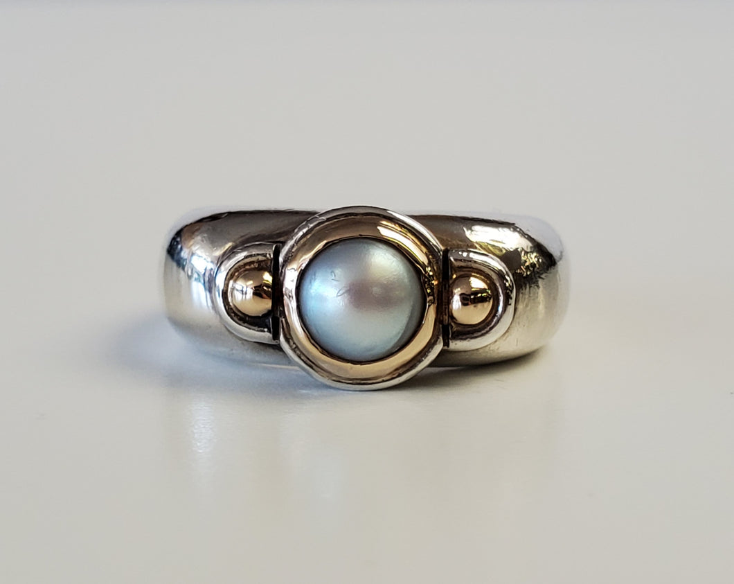Sterling Silver and 14k Yellow Gold Pearl Ring