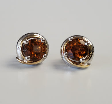 Sterling Silver and 18k Yellow Gold Citrine Earrings