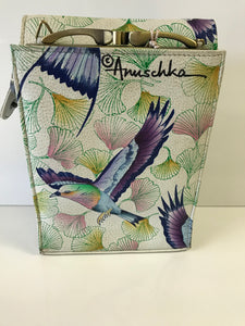 Anuschka Hand Painted Leather Triple Compartment Crossbody Organizer