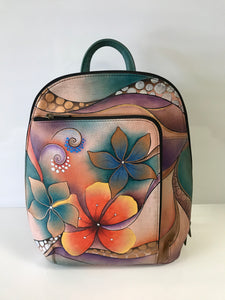 Anuschka Hand Painted Leather Classic Backpack with Convertible Sling Shoulder Strap