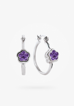 Load image into Gallery viewer, Sterling Silver Children's Flower Hoop Earrings