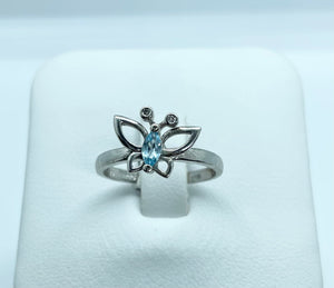 10k White Gold Butterfly Birthstone and Diamond Rings