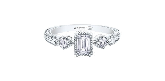 18kt White Gold Diamond Engagement Ring- Emerald Cut Canadian Diamond .50ct Center  -.66ct Total Diamond Weight -Size 7