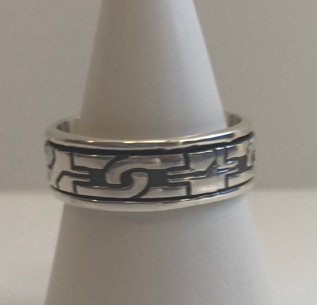 Men's 7mm Sterling Silver Spinner Ring