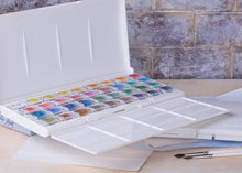 Load image into Gallery viewer, Watercolor set USA artist art watercolors paints paint 36 colors plastic box palette White Nights high quality Nevskaya palitra