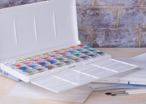 Watercolor set USA artist art watercolors paints paint 36 colors plastic box palette White Nights high quality Nevskaya palitra