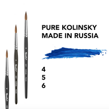 Load image into Gallery viewer, Artist brush painting pure kolinsky 100% paint brushes art watercolor gouache oil tempera short handle