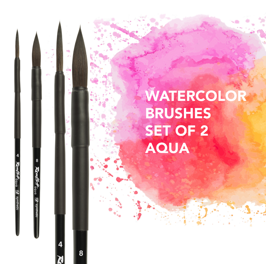 Paint brushes artist watercolor set of 2pcs professional art brush Roubloff made in Russia high-quality cruelty free aqua art