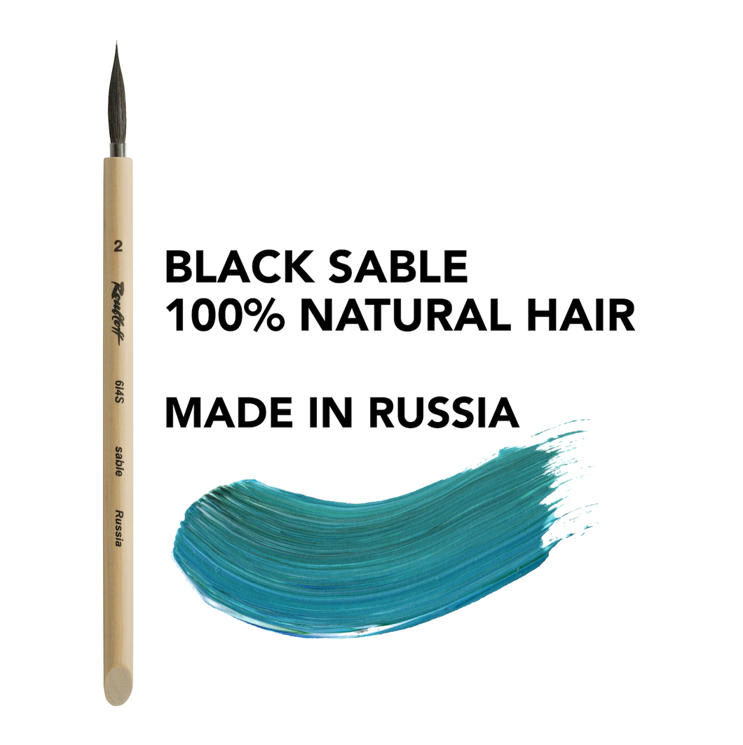 Sable paint brush pure 100% natural brushes set made in Russia artist art professional brush